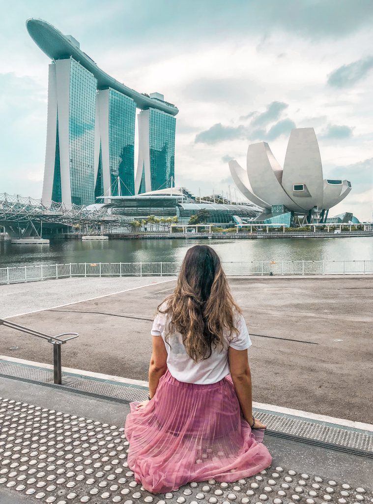 View of the ArtScience Museum and Marina Bay Sands Hotel in Singapore
